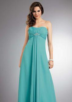 2015 Strapless Blue Sleeveless Ruched Chiffon Floor Length Bridesmaid / Prom Dresses By Jordan 233