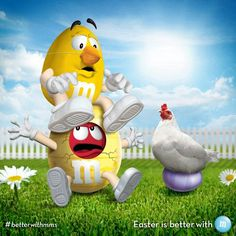 Red M & M covered in yellow & yellow M & M wearing beak Easter & chicken sitting on egg Favorite Candy, Favorite Color, Yellow M&m, Orange, Blue, M&m Characters, M Wallpaper, M Craft, House Of M