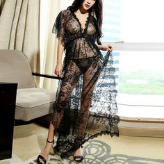 fe3f364f75f Womens Lace Lingerie Dress G-String Thong Sleepwear Sexy Floral  Nightwear Dress String