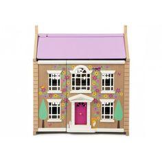 Dit poppenhuis heeft 3 etages maar blinkt vooral uit door zijn prachtige afwerking. De voorgevel is mooi uitgehouwen en beschilderd met leuk bloemmetjes en boompje. De kat zit ook vrolijk naast de deur.Het poppenhuis kan zowel aan de voorkant als aan de achterkant open zodat kinderen er makkelijk bij kunnen.De dakpanelen kunnen worden verwijderd en deze zijn aan de binnenkant beschilderd en kunnnen worden gebruikt als tuin.Het lakwerk van dit poppenhuis is ook van hoge kwaliteit wat we van…