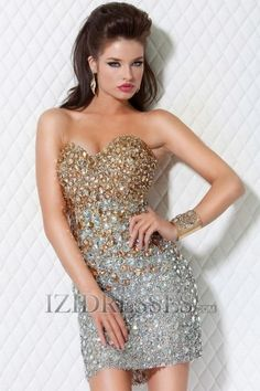 Sheath/Column Princess Strapless Sweetheart Lace Prom Dresses at IZIDRESSES.com