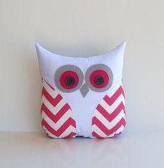 Gray And Hot Pink Nursery   pink chevron owl hot pink white grey zig zag decorative pillow nursery ...