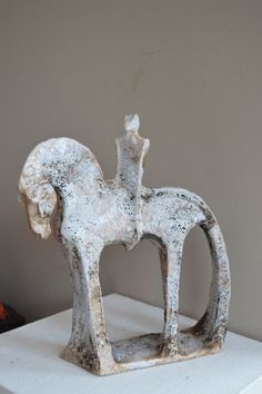 Ceramic Raku #sculpture by #sculptor Marie Ackers titled: 'Horse and rider number 13 (abstract Equestrian statuette)'. #MarieAckers