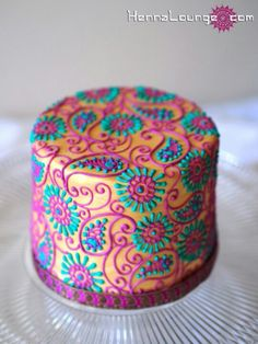 .colorful paisley cake
