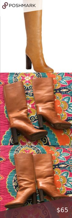 Chloe Brown Stacked Heel Boots Size 39.5 Purchased from the real real Good used condition Size 39.5 Chloe Shoes Heeled Boots