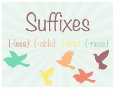Suffix Spelling Practice - 2nd Grade - Suffixes  -ible, -able, -ness, -less - birds - writing sentences, using commas