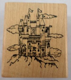 EMBOSSING ARTS CASTLE IN THE CLOUDS MAGICAL KINGDOM WOODEN RUBBER STAMP