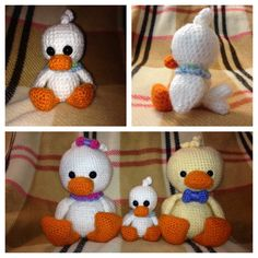 Crochet baby duck. Meet baby Jonah. He is a hybrid of a pattern made  by amigurumibb. He joins mama Grace and daddy William! (Made from the same pattern by amigurumibb)
