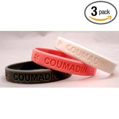 3-pack of Coumadin Medical Alert Silicone Bands Bracelets, (coumadin)
