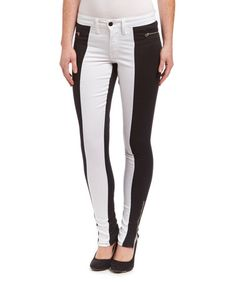 Loving this Black & White Peace Color Block Jeans - Women on #zulily! #zulilyfinds