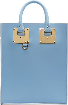 Sophie Hulme Sky Blue Mini Albion Tote Bag Front View