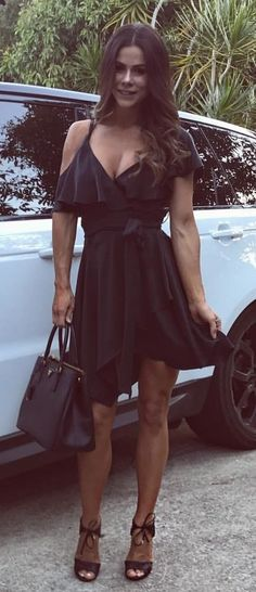 #summer #outfits Little Black Cold Shoulder Dress + Black Sandals