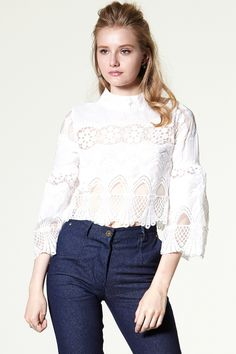 Olivia Lace Overlay Blouse Discover the latest fashion trends online at storets.com