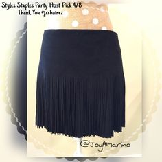 """Black Skirt   Host Pick 4/8  Super cute and and comfy deep black skirt with fringe from the hip to the bottom of the skirt (fringe is 9"""".  Skirt length is 15"""" from top to bottom with a zipper in the back.  Top paired with skirt is also available. Bundles of 2 or more are 15% off. Jolt Skirts Mini"""