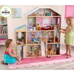 Wooden Doll House Large Kit Girls Pretend Play Dolls Dream Home 33pc Furniture #KidKraftInc #Modern4StoryMansion
