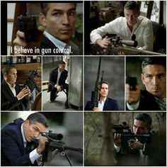I believe in John Reese (Jim Caviezel) being the one controlling the gun.