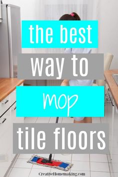 The best way to mop tile floors with vinegar, and the best mop to use to clean tile floors. One of my favorite kitchen floor cleaning hacks!