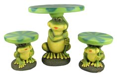 Four Seasons Home 3-Piece Frog with Lily Pad Table & Chair Novelty Garden Patio Furniture Set at Sears.com