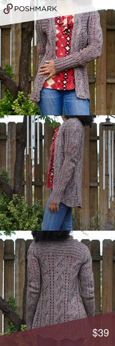 DKNY JEANS Brown Long Sleeve Open Knit Cardigan DKNY JEANS  Open cardigan Long sleeves Open knit Size extra small fabric unknown In excellent used condition Bust: 15 1/2 inches Sleeve length: 28 1/2 inches Cardigan Length: 30 inches Dkny Sweaters Cardigans