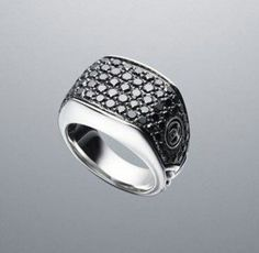 David Yurman black diamond chevron mens ring
