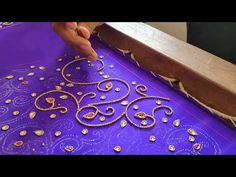Designer Embroidery on a Lavender Blouse Sleeve - YouTube