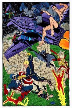 John Byrne - The Invaders Dc Comic Books, Comic Book Artists, Comic Book Characters, Comic Book Heroes, Marvel Characters, Comic Art, Dc Comics Art, Anime Comics, Superhero Images