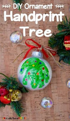 Make an adorable handprint Christmas tree ornament with our easy step by step directions and video tutorial. The ornaments turn out so cute and make great decorations, gifts, and keepsakes. Kids will love this fun craft. #christmas #ornaments #craft #kidscrafts #diyforkids Handprint Christmas Tree, Holiday Crafts For Kids, Christmas Ornaments To Make, Crafts For Kids To Make, Felt Christmas, Christmas Crafts, Christmas Goodies, Kid Crafts, Christmas Ideas