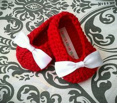 Red Crochet Baby Booties , White Bow Crochet Booties, Baby Girl Booties, Christmas on Etsy, $18.00