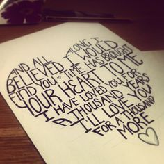 Love you for a thousand years lyric pic heart