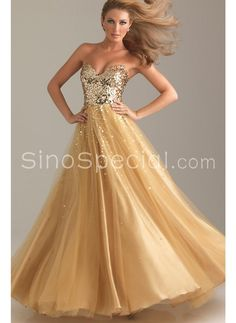 Super sexy golden divinity dress!  LOVE    Fantastic Sweetheart Neckline Floor Length Tulle Sequined Ball Gown Prom Dress