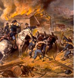 """Fires blaze while Union soldiers destroy railroad tracks in Atlanta, Georgia, in this painting. The scorched-earth policy of """"total war"""" was characteristic of Sherman's March to the Sea. American Civil War, American History, Shermans March, City Of Columbia, Path Of Destruction, Civil War Art, Union Army, Total War, Civil War Photos"""