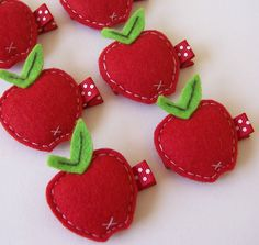 Puffy Felt Red Apple Hair Clip An by MasterpiecesOfFunArt on Etsy, $3.50