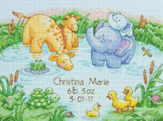 """new Little Pond Birth Record Counted Cross Stitch Kit-12""""X9"""" 14 Count New a1b2c3 http://www.amazon.com/dp/B00P3L7W2K/ref=cm_sw_r_pi_dp_SzpBub18Y3AT2"""