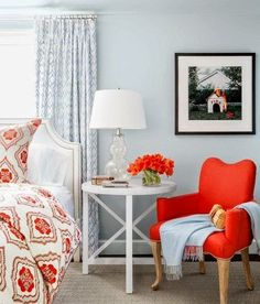 Beautiful shades of orange in the bedroom. #homedesign #homedecor #deorating #fallhomedecor #orangedecor #homeimprovement #homerenovation