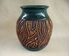 Pottery Handmade and Carved Leaf Design Vase by KittingerClay
