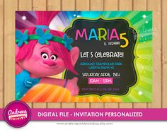 Trolls invitation trolls movie invitation invitation