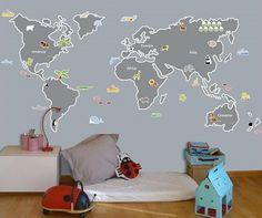 Vinilos mapamundi. Vinilos personalizados para habitaciones infantiles