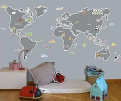World map decor on pinterest rustic home decorating for Vinilos pared entera
