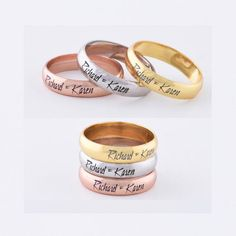 Engraved Promise Ring, Personalized Sweetheart Couple's Ring, Custom Name Engraved, Personalized Rin Coordinate Rings, Gold Wedding Rings, Wedding Ring Bands, Sterling Silver Jewelry, Silver Rings, Engraved Promise Rings, Name Rings, Ring Engraving, Personalized Rings