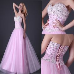 Pink Stunning Sequins Beaded Corset Evening/Formal/Ball gown/Party/Prom dress | eBay