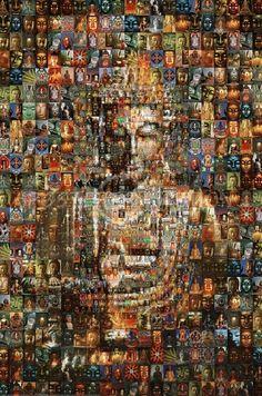 Mosaic Buddha made up of many Buddha pictures. Art Buddha, Buddha Kunst, Buddha Painting, Buddha Peace, Buddha Statues, Gautama Buddha, Buddha Buddhism, Buddha Meditation, Little Buddha