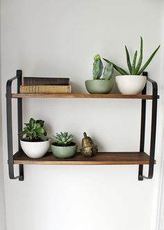 Before & After Breakfast Nook — Tag & Tibby Design : rustic wood with metal shelving decorated with live plants and vintage books Rustic Wooden Shelves, Wood Shelves, Home Decor Bedroom, Diy Home Decor, Bedroom Ideas, Metal Shelving, Iron Furniture, Minimalist Room, Iron Decor