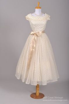 1950's Flocked Polka Dot Chiffon Vintage Wedding Gown. I was meant to be in the 50s
