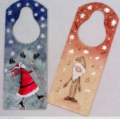 Picaportes navideños Sandra Eugenia Hernandez Flores- Artelista.com Christmas Ornaments To Make, Christmas Signs, Christmas Time, Christmas Crafts, Xmas, Decoupage Vintage, Country Paintings, Door Hangers, Collage