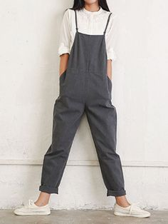 Casual Women Pure Color Side Button Strap Cotton Overalls With Pocket - Banggood Mobile Summer Outfits, Casual Outfits, Cute Outfits, Overalls Women, Jean Overalls, Dungarees, Look Retro, Cotton Jumpsuit, Skirt Outfits