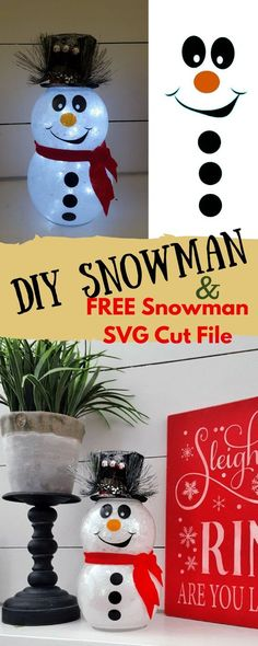 DIY Glitter Snowman Tutorial | Snowman SVG Cut File Free | Dollar Tree Christmas Decor | Fairy Lights