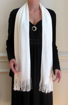 Long Ivory White Cashmere Scarf Luxury is a close knit plush winter scarf just 34.99 a bargain!