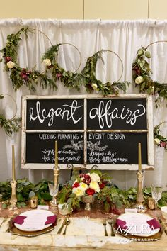 Wedding Show Booth at 2016 Seattle Wedding Show!  wedding, wedding show booth, seattle wedding planner, wedding planner, bohemian, flowers, chalkboard, garland, wreaths, floral hoops  Photo by Azzura Photography