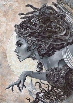 Beautiful representation of Medusa as a witch. Medusa was born as an ordinary maiden, and then once cursed by the goddess Athena, she became a witch who used her powers to turn people to stone. Medusa Drawing, Medusa Art, Medusa Gorgon, Medusa Painting, Greek Mythology Tattoos, Greek And Roman Mythology, Tattoo Sketch, Tattoo Und Piercing, Medusa Tattoo Design