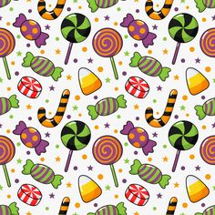 Happy Halloween Seamless Pattern And Cartoon Candies Isolated On White Dulceros Halloween, Feliz Halloween, Kawaii Halloween, Halloween Clipart, Halloween Prints, Halloween Backgrounds, Halloween Wallpaper, Cool Wallpaper, Wallpaper Backgrounds